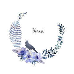 Watercolor forest bird silhouette and floral frame