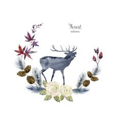 Aquarelle deer with floral frame, card decoration