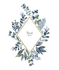 Watercolor herbarium frame with flowers. Art card with blue berries, forest leaf, fern.