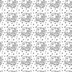Seamless pattern hand drawn planet. Doodle black sketch. Sign symbol. Decoration element. Isolated on white background. Flat design. Vector illustration