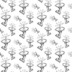Seamless pattern hand drawn satellite dish. Doodle black sketch. Sign symbol. Decoration element. Isolated on white background. Flat design. Vector illustration