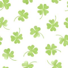 Seamless watercolor clover pattern. Vector background for Saint Patrick's Day.