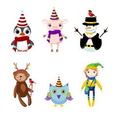 Set fairytale Christmas characters: penguin, pig, snowman, bear, owl, elf. Characters in festive costumes. Raster clip art.