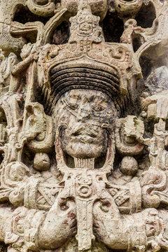 The face on Stelae B in Copan Ruins, Copan, Honduras