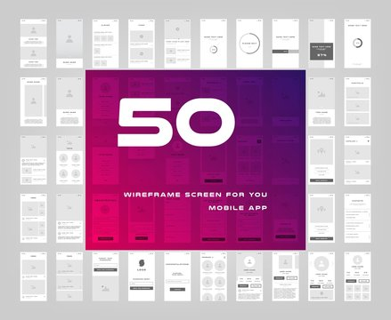 50 in 1 UI kits. Wireframes screens for your mobile app. GUI template on the topic of singup login . Development interface with UX design. Vector illustration. Eps 10