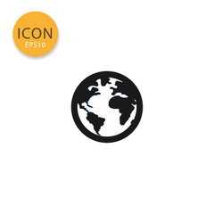 Globe world map icon isolated flat style.