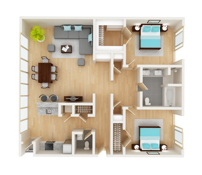 Floor plan of a house top view 3D illustration. Open concept living room, two bedroom layout.