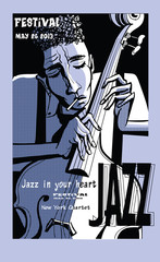 Fotobehang Art Studio Jazz poster with double bass