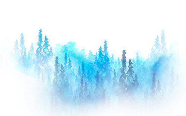 Watercolor art illustration. Drawing of the blue forest, pine tree, spruce, cedar. Dark, dense forest, suburban landscape. Postcard, logo, card. Misty forest, haze.