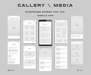 10 in 1 UI kits. Wireframes screens for your mobile app. GUI template on the topic of gallery media . Development interface with UX design. Vector illustration. Eps 10