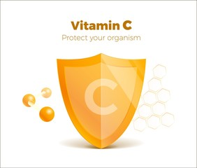 Vitamin C concept 3d shield with molecule, protected guard. Presentation shining sticker shield. Isolated on white. Meds for heath ads. Treatment cold flu. Vector illustration. Eps 10