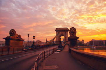 Canvas Prints Bridge Silhouette of Chain Bridge on the background of sunrise in Budapest. Hungary travel destination and tourism landmark.