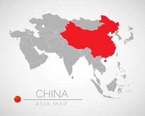 Map of Asia with the identication of China. Map of China. Political map of Asia in gray color. Asia countries. Vector stock.