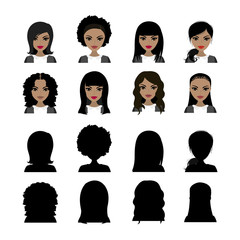 African american Female avatars and black silhouette,isolated on white background