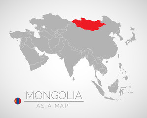 Map of Asia with the identication Mongolia. Map of Mongolia. Political map of Asia in gray color. Asia countries. Vector stock.