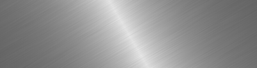 Foto op Aluminium Metal Brushed metal surface. Texture of metal. Abstract steel background. Wide image