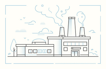 Factory - modern line design style vector illustration