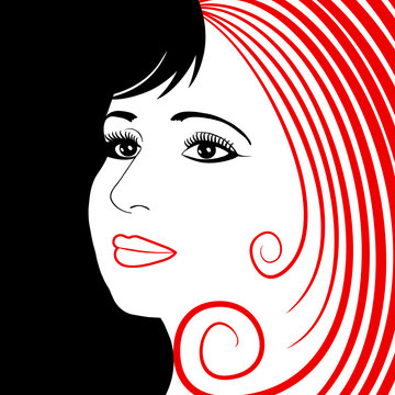 Abstract illustration with a beautiful woman