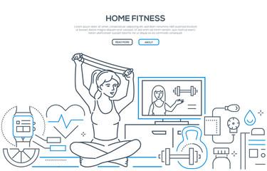Home fitness - modern line design style banner