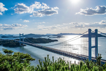 瀬戸大橋と日光 Setoohashi Bridge and sunshine
