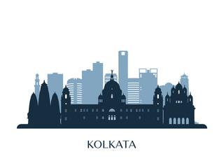 Kolkata skyline, monochrome silhouette. Vector illustration. Papier Peint
