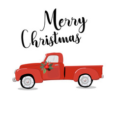 Merry christmas and happy new year greeting card with cute retro car with christmas tree on the roof. Postcard, poster, invitation template. Vector illustration