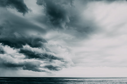 Storm Clouds Gathering Over Ocean