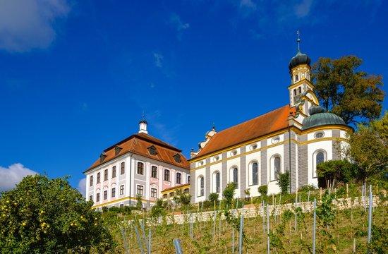 Castle church and castle Leitheim, Kaisheim, district Donau-Ries, Swabia, Bavaria, Germany, Europe