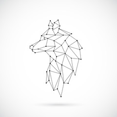 Geometric Wolf silhouette. Image of Lion in the form of constellation. Vector illustration.