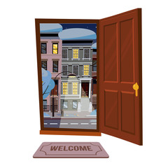 Open wood brown door into winter city starry night view with snowy trees, burning lantern. Door mat. Flat cartoon style vector illustration. Three-four-story uneven colorful houses. Street cityscape.