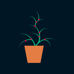 Icon in flat design flower in pot aloe