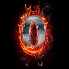 Foto op Aluminium Vlam Metallic number on fire. 3d illustration