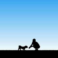 Girl with dog in park. Vector illustration with silhouettes of woman and pet. Blue pastel background