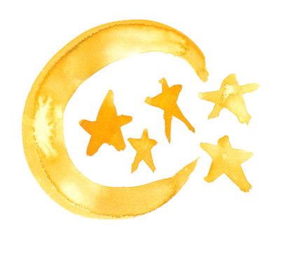 Golden yellow crescent moon and five stars painted in watercolor on clean white background