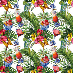 Watercolor tropical wildlife seamless pattern. Hand Drawn jungle nature, hibiscus flowers, drinks party illustration