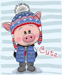 Cute Cartoon Pig boy in a hat and coat
