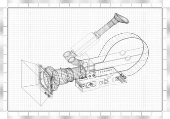 Movie camera Architect blueprint