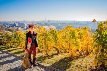 Femme dans le Vignoble de Saint-Venceslas à Prague