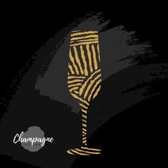 Holiday greeting postcard with champagne glass in modern simple style