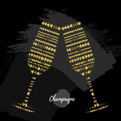 Holiday greeting postcard with champagne glasses in modern simple style