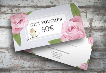 Gift Voucher Layout with Rose Illustrations
