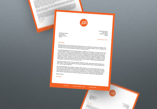 Letterhead Layout with Orange Accents