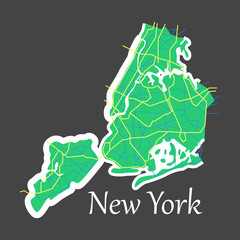 New York City Map - flat illustration
