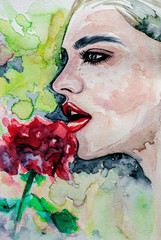 Beautiful woman with red rose, abstract illustration