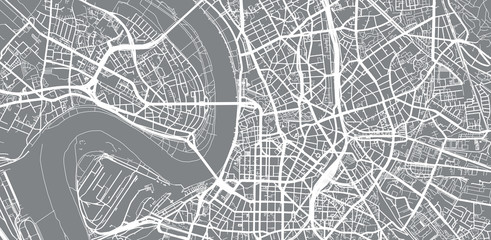 Urban vector city map of Dusseldorf, Germany
