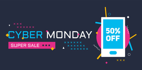 Cyber Monday banner with geometric details, bold text, smartphone template and bright colors. Designed for web and prints.