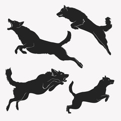 Dog jumping. A set of jumping dogs. Active dogs. Evil dogs. Vector illustration.