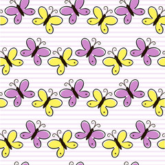 Cute vector background with butterfly of yellow and lilac colors on striped backdrop.