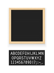 Black letter board. Letterboard for note. Plate message. Office