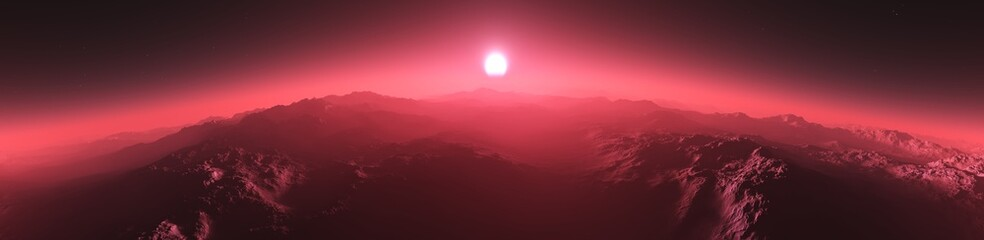 Sunrise over the planet, panorama of Mars at sunset